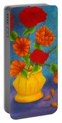 Red And Orange Flowers Portable Battery Charger