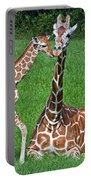 Reticulated Giraffe Calf With Mother Portable Battery Charger