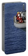 Sailors Lower A Rigid-hull Inflatable Portable Battery Charger