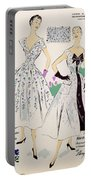 Vintage Fashion Sketches And Fabric Swatches Portable Battery Charger