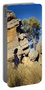 Split Rocks With Woman Portable Battery Charger