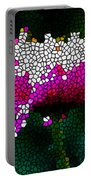 Stained Glass Pink Chrysanthemum Flower Portable Battery Charger