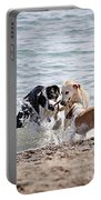 Three Dogs Playing On Beach Portable Battery Charger