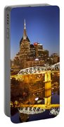 Twilight Over Nashville Tennessee Portable Battery Charger by Brian Jannsen
