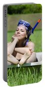 Woman Lying In A Bathtub Portable Battery Charger