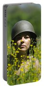 Woman With Military Helmet Portable Battery Charger