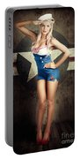 American Fashion Model In Military Pin-up Style Portable Battery Charger