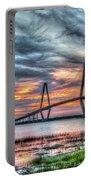 Arthur Ravenel Bridge Stormy Skies Portable Battery Charger