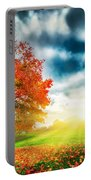 Autumn Fall Landscape In Park Portable Battery Charger
