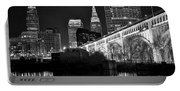 Black And White Cleveland Iconic Scene Portable Battery Charger