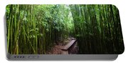 Boardwalk Passing Through Bamboo Trees Portable Battery Charger