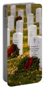 Christmas Wreaths Laid At The Arlington Cemetery Portable Battery Charger