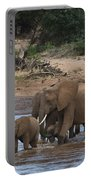 Elephants Crossing The River Portable Battery Charger