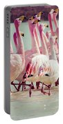 Flamingos On Lake In Andes Portable Battery Charger
