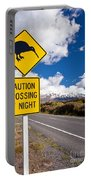 Kiwi Crossing Road Sign And Volcano Ruapehu Nz Portable Battery Charger