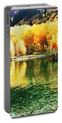 Lake Reflection In Fall Portable Battery Charger