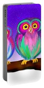 3 Little Owls In The Moonlight Portable Battery Charger