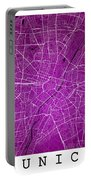 Munich Street Map - Munich Germany Road Map Art On Colored Backg Portable Battery Charger