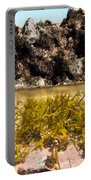 Over-under Split Shot Of Clear Water In Tidal Pool Portable Battery Charger