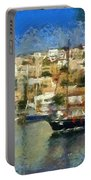 Panoramic Painting Of Mikrolimano Port Portable Battery Charger