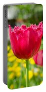 Red Tulips On The Green Background Portable Battery Charger