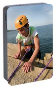 Rock Climbing On Oceanside Cliffs Portable Battery Charger