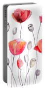 Stylized Poppy Flowers Illustration  Portable Battery Charger