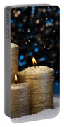 Three Gold Candles In Snow  Portable Battery Charger