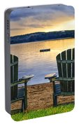 Wooden Chairs At Sunset On Beach Portable Battery Charger