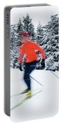 A Young Woman Cross-country Skiing Portable Battery Charger