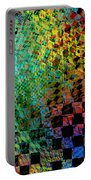 Abstract Checkered Pattern Fractal Flame Portable Battery Charger by Keith Webber Jr