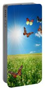 Colorful Buttefly Spring Field Portable Battery Charger