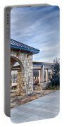 Cultured Stone Terrace Trellis Details Near Park In A City  Portable Battery Charger