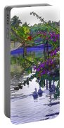 Ducks And Flowers In Lagoon Water Portable Battery Charger
