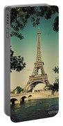 Eiffel Tower And Bridge On Seine River In Paris Portable Battery Charger