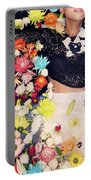 Fashion Model Posing With Flowers Portable Battery Charger