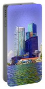 Financial District Of Singapore And View Of The Water In Singapore Portable Battery Charger