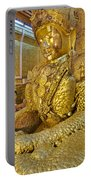 4 M Tall Sitting Buddha With Thick Layer Of Golden Leaves In Mahamuni Pagoda Mandalay Myanmar Portable Battery Charger