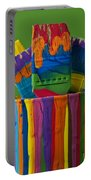 Multicolored Paint Can With Brushes Portable Battery Charger