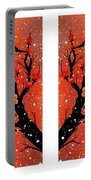 4-panel Snow On The Orange Cherry Blossom Trees Portable Battery Charger