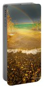 Rainbow And Dark Clouds Over Large Lake Portable Battery Charger