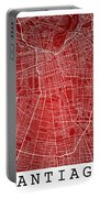 Santiago Street Map - Santiago Chile Road Map Art On Colored Bac Portable Battery Charger