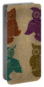 4 Sophisticated Owls Colored Portable Battery Charger