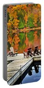 Wooden Dock On Autumn Lake Portable Battery Charger