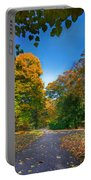 Alley With Falling Leaves In Fall Park Portable Battery Charger