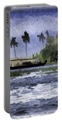 Digital Oil Painting - A Houseboat On Its Quiet Sojourn Through The Backwaters Portable Battery Charger