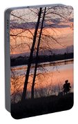 Fly Fishing At Sunset Portable Battery Charger