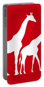 Giraffe In Red And White Portable Battery Charger