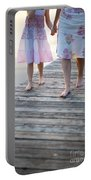 Mother And Daughter On A Wooden Board Walk Portable Battery Charger