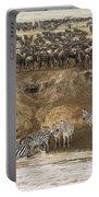 Wildebeests Crossing Mara River, Kenya Portable Battery Charger